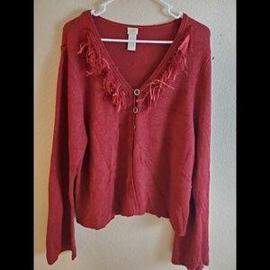 J Jill Red Silk Linen Button Festive Sweater
